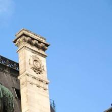 The bronze statue of Etienne Marcel proudly standing beside the Hotel de Ville, Paris, France