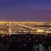 A view of the LA basin at dusk from the western side of the Samuel Oschin Planetarium dome of Griffith Observatory, February 2006