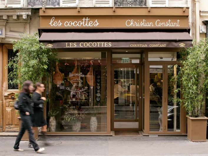 The exterior of Les Cocottes by Christian Constant on Rue Saint Dominique in the 7th Arronndissment, Paris, France.