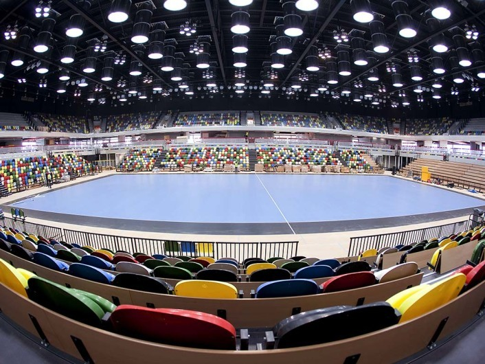 LONDON, UNITED KINGDOM - APRIL 12: In this handout image provided by the Olympic Delivery Authority, A general view of the London 2012 Handball Arena with a visit to the venue on May 12, 2011 in London, United Kingdom. They announced new measures to support youth employment and inspected work carried out by apprentices on the Olympic Park. (Photo by  David Poultney/Olympic Delivery Authority via Getty Images)