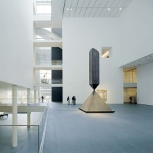 The Museum of Modern Art, designed by Yoshio Taniguchi. The Donald B. and Catherine C. Marron Atrium looking east towards 5th Avenue with Barnett Newman's, Broken Obelisk (1963-69) and Willem de Kooning's, Pirate (Untitled II) (1981). (c) 2004 Timothy Hursley.
