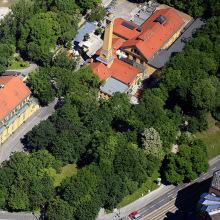 Luftbild vom Müllerschen Volksbad und von der Muffathalle in München