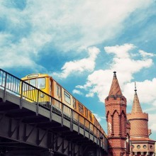 Berlin, Kreuzberg subway. Oberbaumbrucke on the background