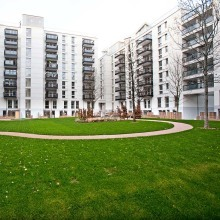A view of the courtyard of block on the Athletes' Village on the Olympic Park. Picture David Poultney @ LOCOG