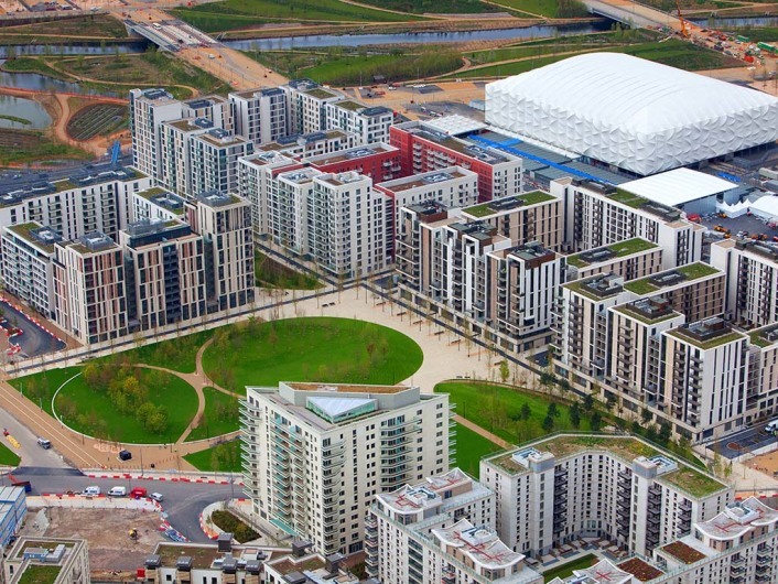 Aerial view of the Olympic Park showing the Olympic and Paralympic Village. Picture taken on 16 April 2012.
