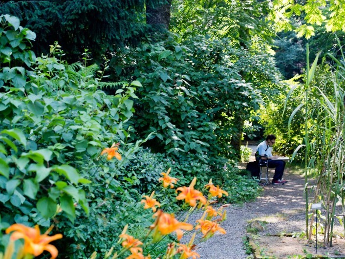 Green oasis in the center of the city and backyard of the academy of arts