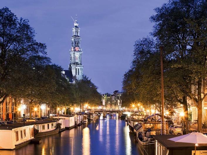 Westerkerk met Westertoren (Glockenturm) an der Prinsengracht