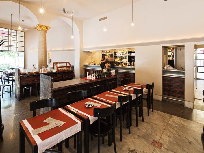 Summer cool and winter cozy wine bar with huge selection