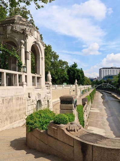 Entrance to the famous subway station in the Vienna city park (Stadtpark) built by otto wagner