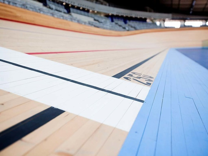 Velodrome. Interior view of the Velodrome and track in the Olympic Park. Picture taken on 13 Apr 11 by David Poultney.