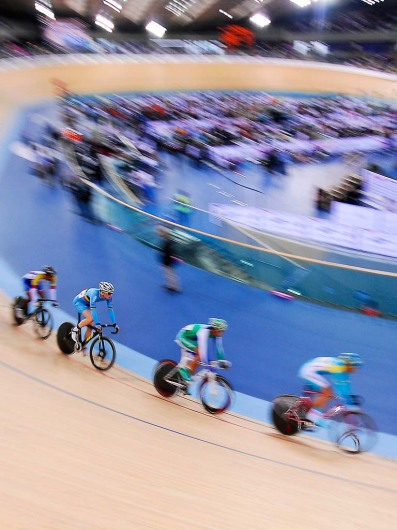 Riders at the UCI Track Cycling World Cup at the Velodrome, Olympic Park, London