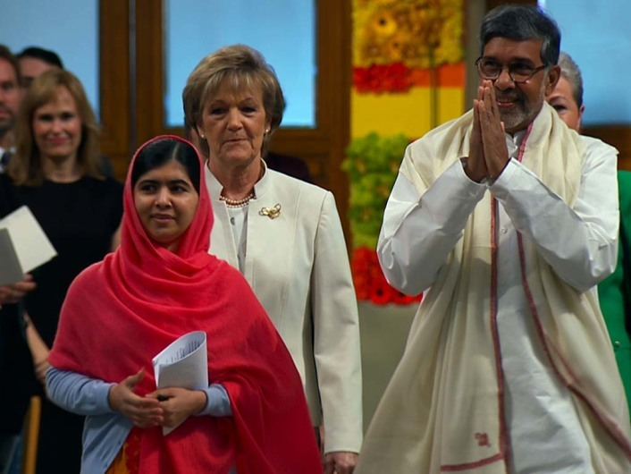HE NAMED ME MALALA: (From L-R) Malala Yousafzai, Inger-Marie Ytterhornand Kailash Satyarthi at the Nobel Peace Prize Ceremony, Oslo Norway. Dec 10, 2014. Photo courtesy of Fox Searchlight Pictures.© 2015 Twentieth Century Fox Film Corporation All Rights Reserved