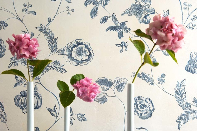 Dining room, hand painted walls, The Old Rectory