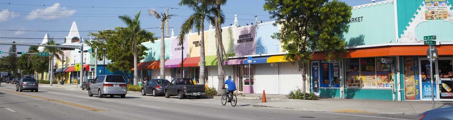 Bunte Häuserfassade in Little Haiti