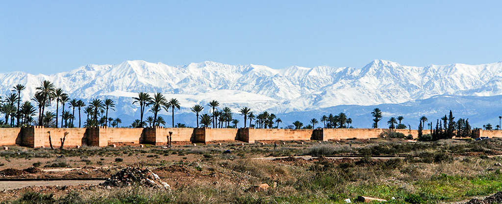 Marrakech view to Atlas Mountains